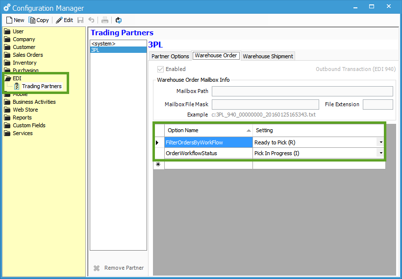 3PL EDI Partner Workflow Status Options | Acctivate Help