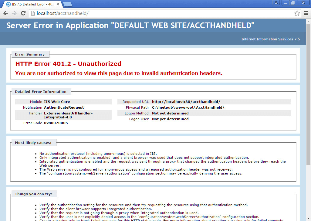 localhost/accthandheld is blank | Acctivate Help