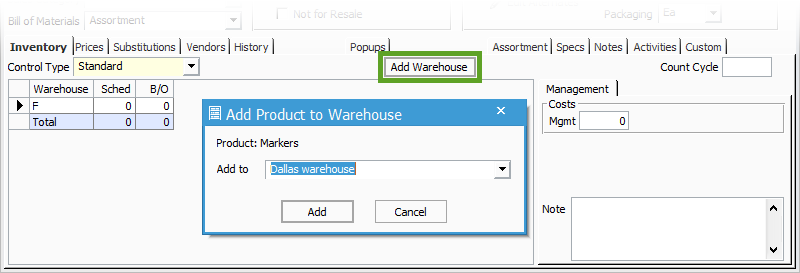 Assortment Item Add Warehouse