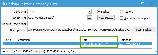 Backup Date