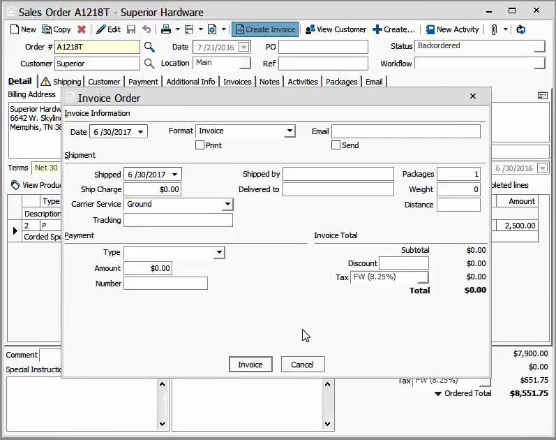 adding shipping information in prepare invoices acctivate help