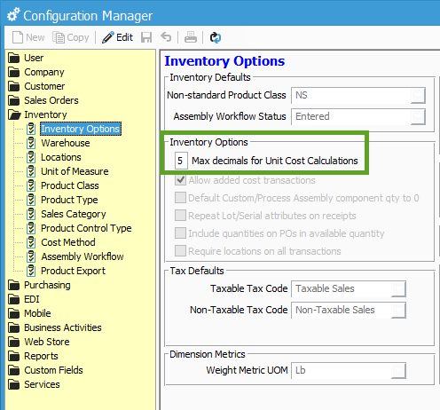 Here You Can Adjust The Max Decimals For Unit Cost Calculations Field By Entering In Number Of Your Costs