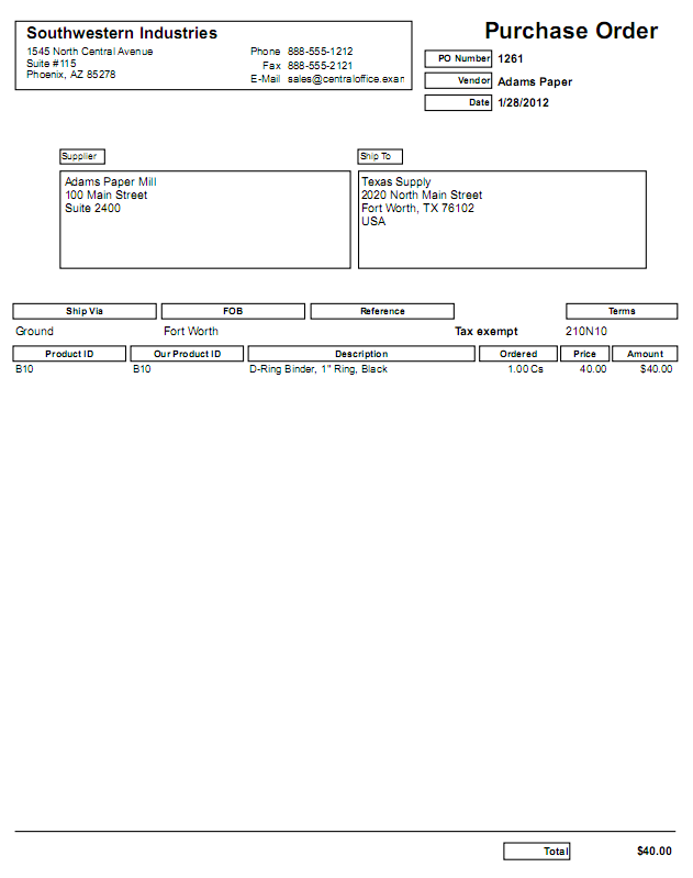 large purchase order form with manila backing purchase order forms