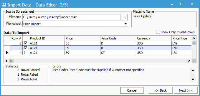 Product Price Import Data Editor