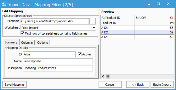 Product Price Import Mapping Editor Summary