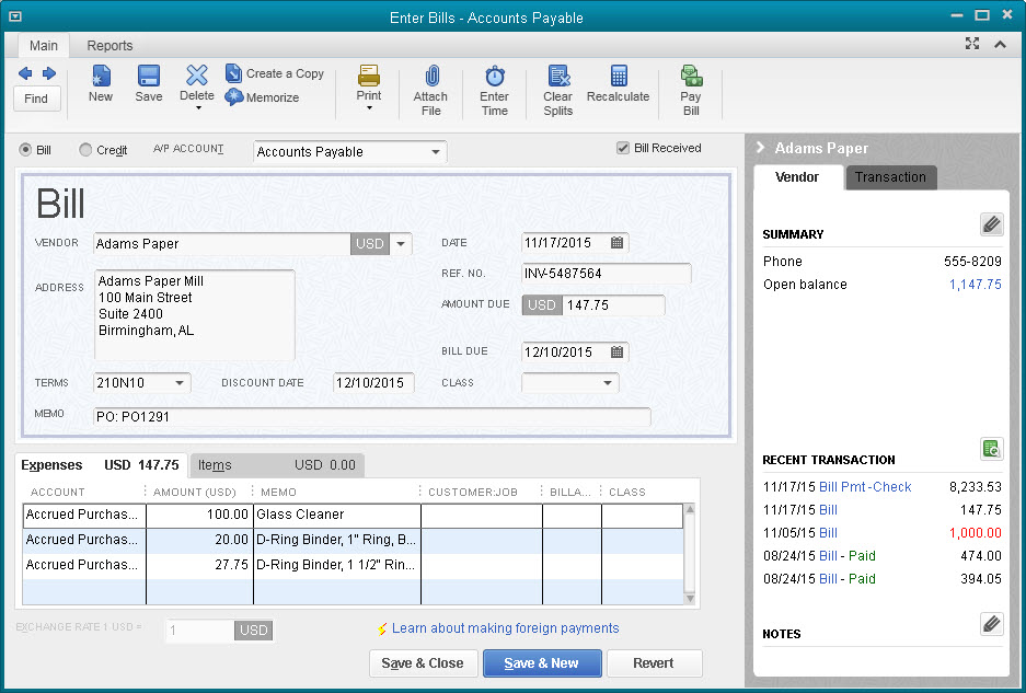 how to show prepayment on purchase order on quickbooks