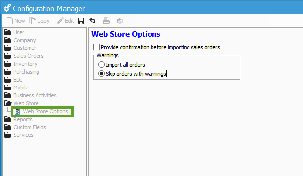 Web Store Options