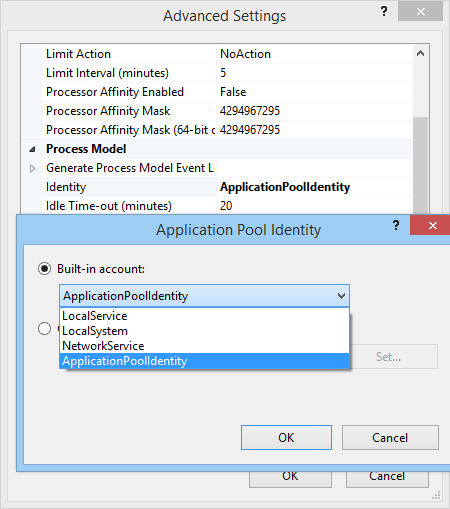 application pool identity