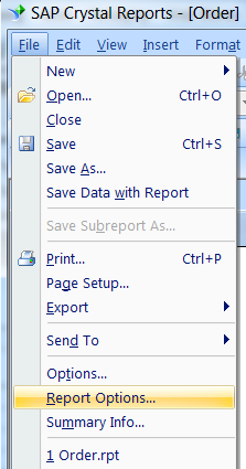 crystal reports file options