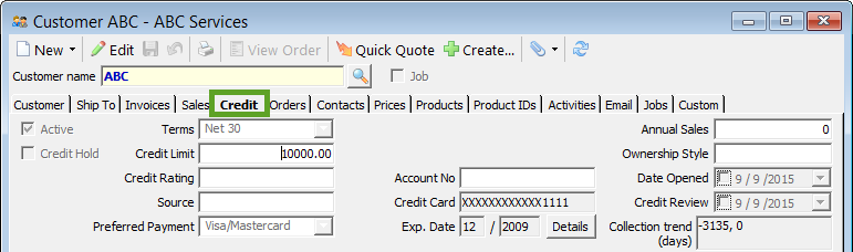 customer credit tab
