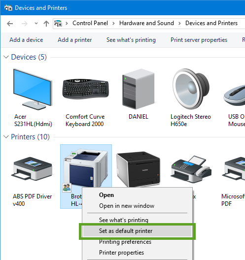 Setting a default printer for Acctivate | Acctivate Help