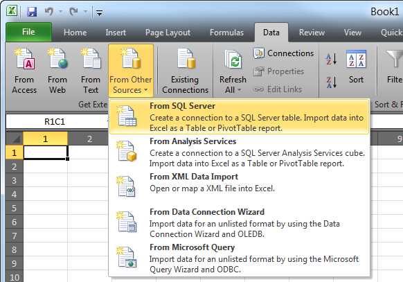 Import a database table into Microsoft Excel 2010 | Acctivate Help