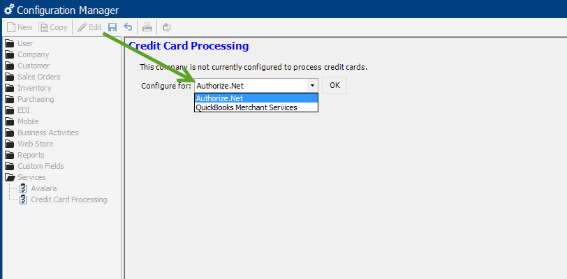 selecting Authorize.net