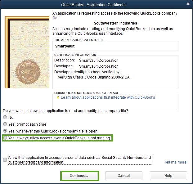 smartvault certificate