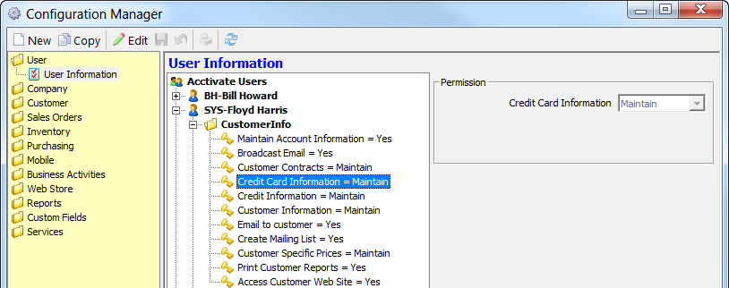 user permission credit card